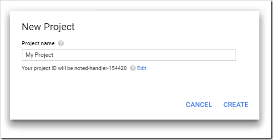 Creating a new project under the Google Developer dashboard.