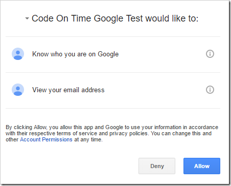 Granting permission for the app to access the Google profile.