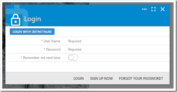 Login with DotNetNuke is now visible on the login form.