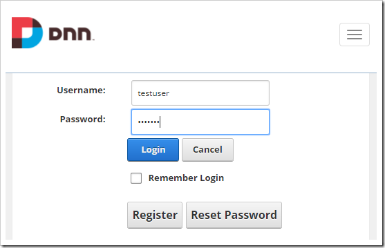 Redirected to the DNN login page.