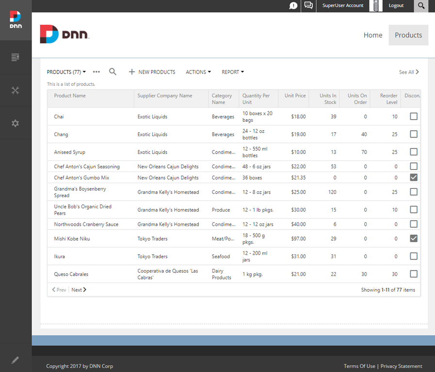 App created with Code On Time is integrated in the instance of DotNetNuke Portal.