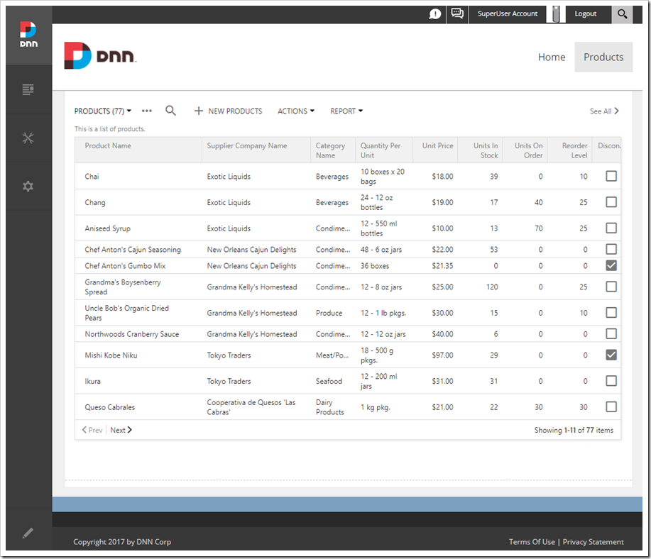 A grid of products is now displayed within the DotNetNuke portal