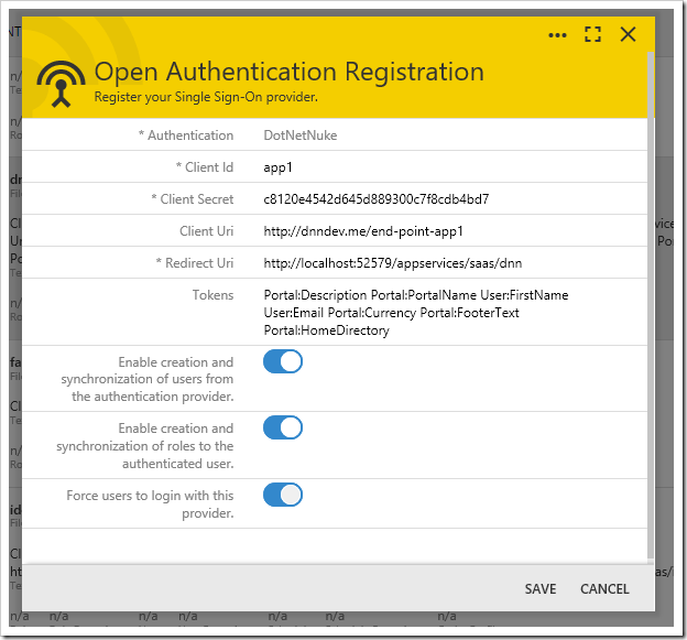 Open Authentication Registration form for an existing record.