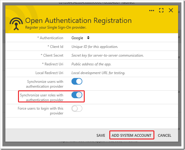 Synchronizing user roles via external authentication.