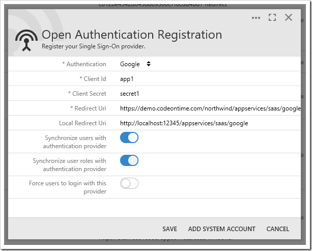 Configuring Google OAuth Provider.