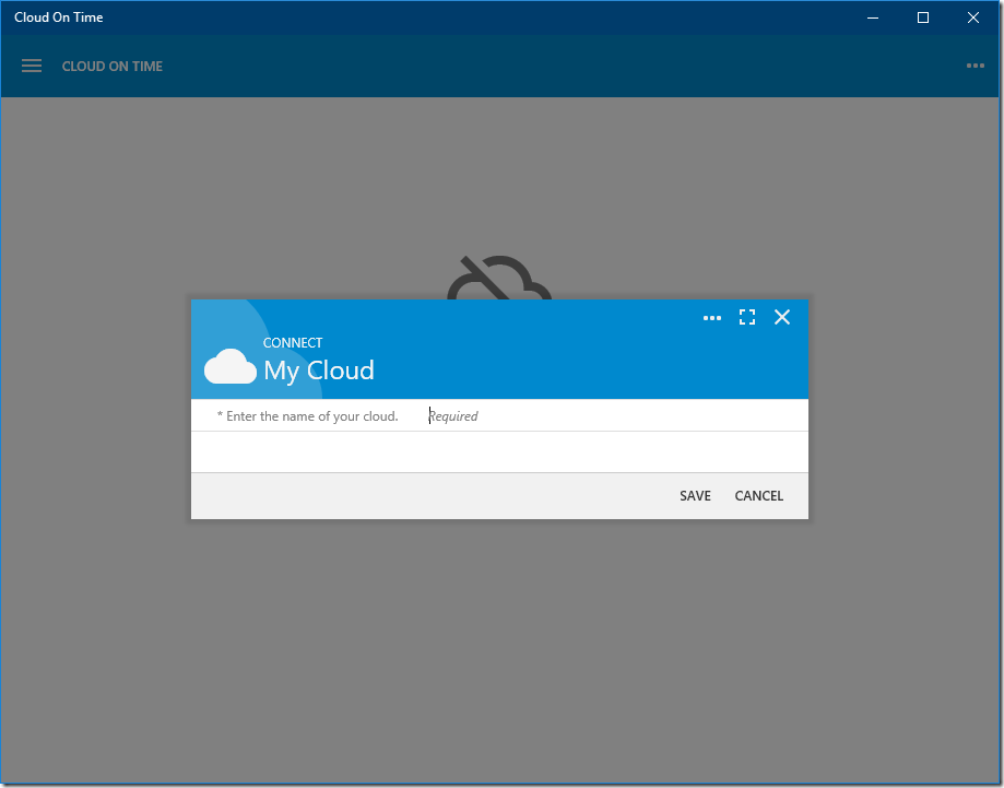 Adding a cloud to native Universal Windows Platform app Cloud On Time.