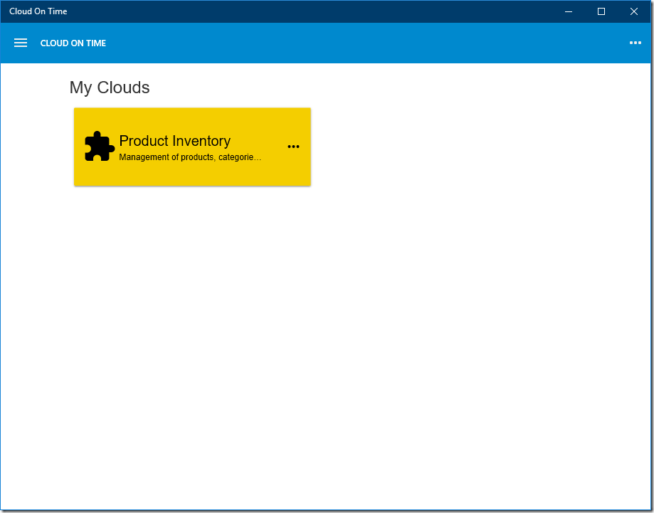 Home page showing one cloud in native Universal Windows Platform app Cloud On Time.