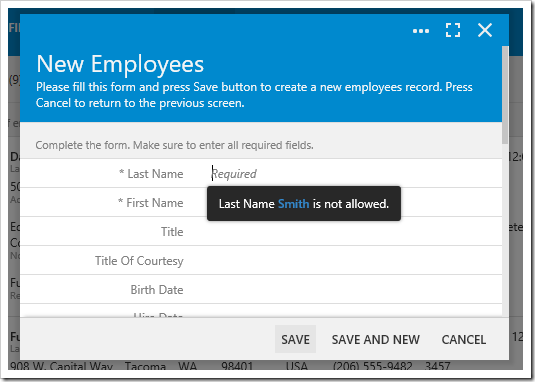Validating the Last Name field of the New Employees form.